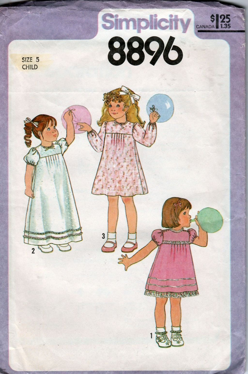 Simplicity 8896 Vintage 70's Pattern Little Girls Dress  Mini Long Length - VintageStitching - Vintage Sewing Patterns