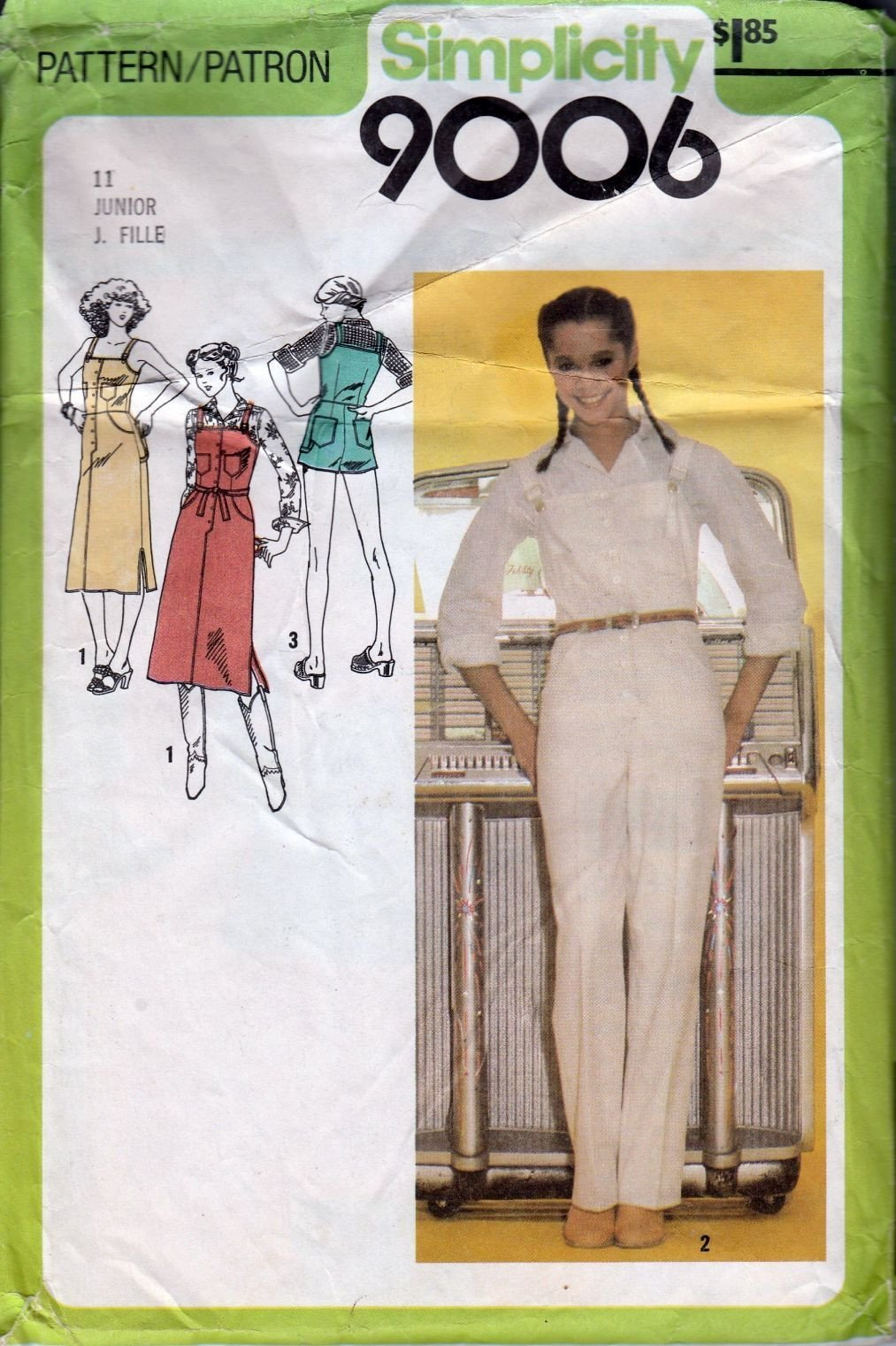 Simplicity 9006 Junior Overalls Jumper Dress Sundress Vintage Sewing Pattern 1970's - VintageStitching - Vintage Sewing Patterns