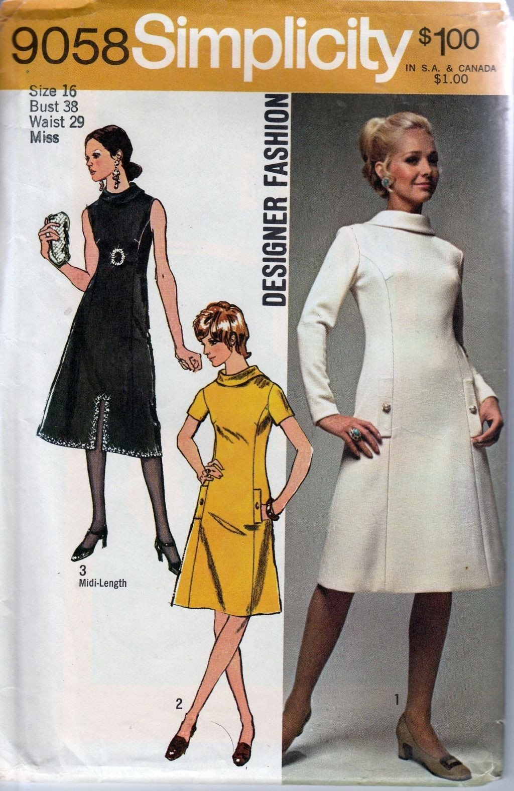 Simplicity 9058 Vintage 1970's Sewing Pattern Ladies Princess Seam Dress Roll Collar - VintageStitching - Vintage Sewing Patterns