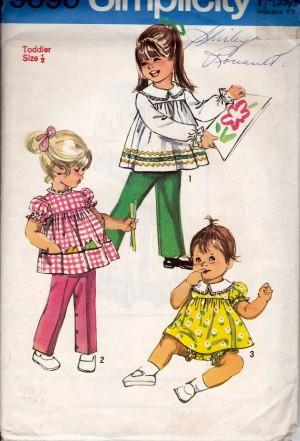 Simplicity 9090 Toddlers Top Pants Bloomers Vintage Sewing Pattern - VintageStitching - Vintage Sewing Patterns