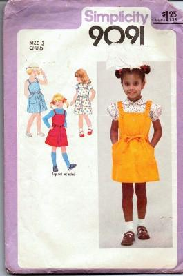 Simplicity 9091 Toddler Jumper Sundress Blouse Vintage Sewing Pattern - VintageStitching - Vintage Sewing Patterns