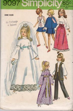 Simplicity 9097 Barbie Doll Clothes Wardrobe Vintage 1970's Pattern - VintageStitching - Vintage Sewing Patterns