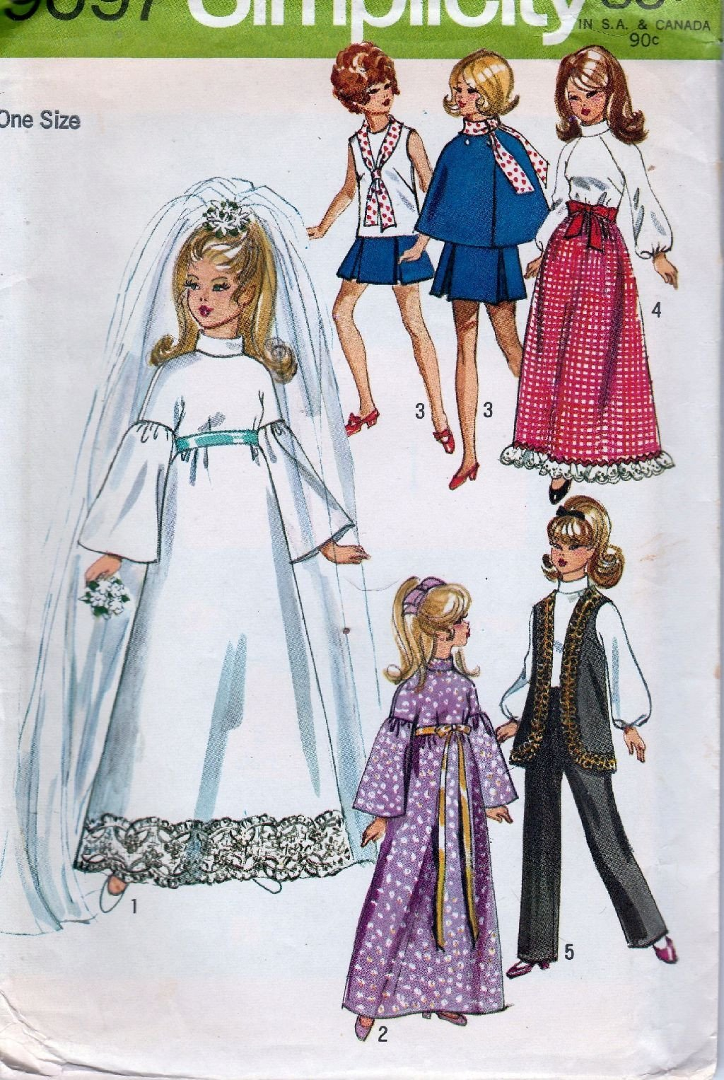Simplicity 9097 Vintage 1970's Craft Sewing Pattern Barbie Doll Clothing - VintageStitching - Vintage Sewing Patterns
