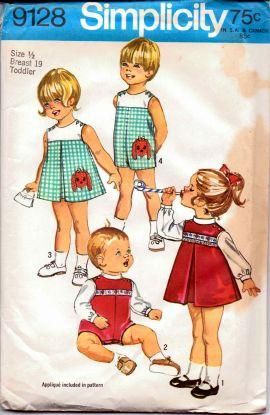Simplicity 9128 Toddlers' Dress Blouse Overalls Vintage 70's Pattern - VintageStitching - Vintage Sewing Patterns