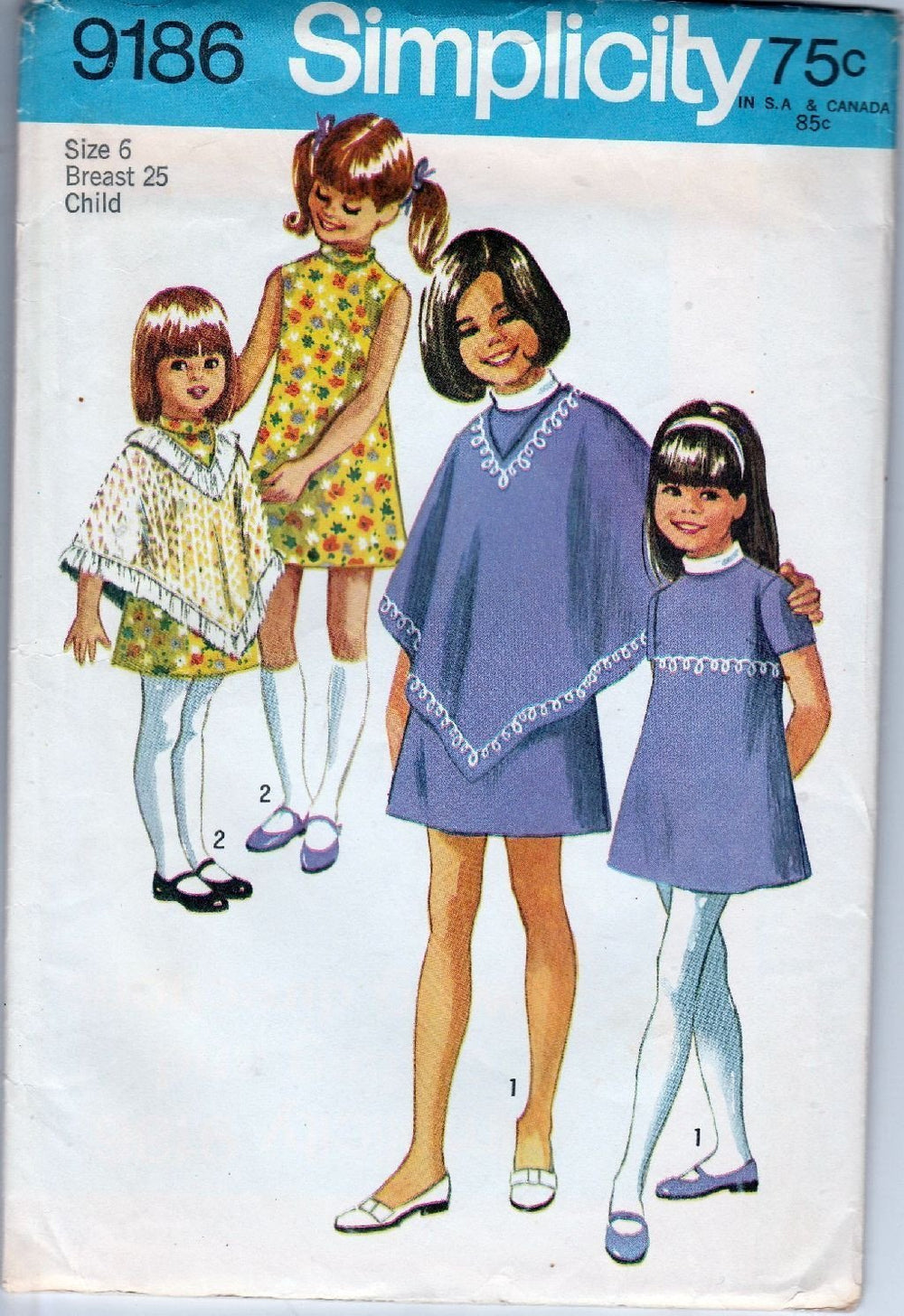 Simplicity 9186 Vintage 1960's Sewing Pattern Girls Dress Poncho - VintageStitching - Vintage Sewing Patterns