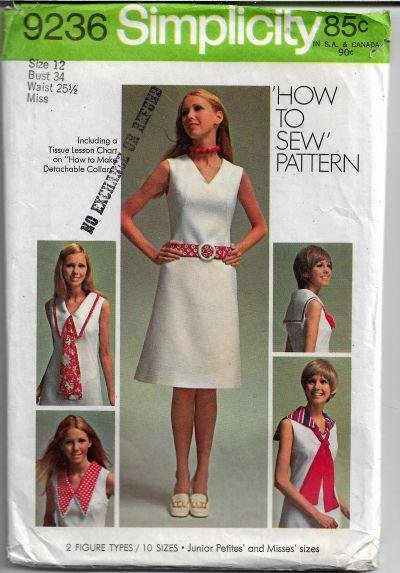 Simplicity 9236 Ladies Sailor Dress Basic Vintage Sewing Pattern 1970s - VintageStitching - Vintage Sewing Patterns