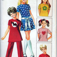 Simplicity 9241 Girls' Mini Dress and Pants Vintage 1970's Sewing Pattern - VintageStitching - Vintage Sewing Patterns