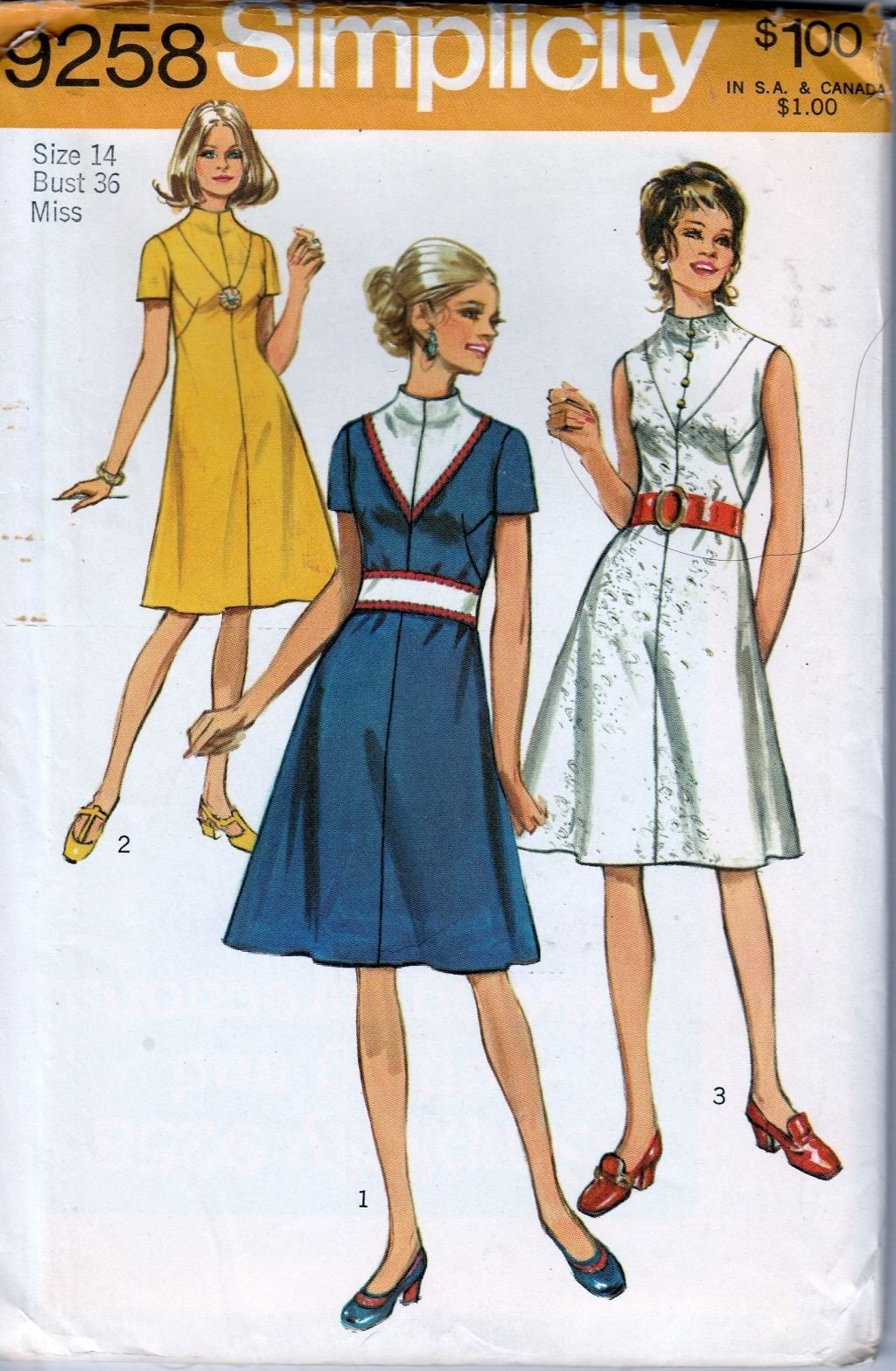 Simplicity 9258 Vintage 70's Sewing Pattern Ladies High Neck Dress - VintageStitching - Vintage Sewing Patterns