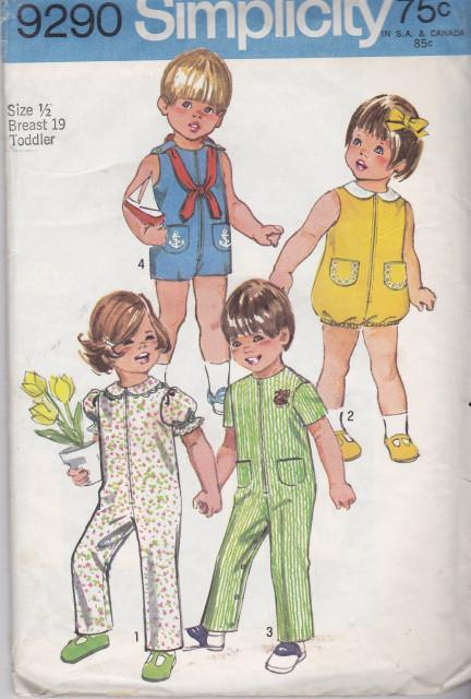 Simplicity 9290 Toddlers Jumpsuit Bubblesuit Romper Vintage Sewing Pattern - VintageStitching - Vintage Sewing Patterns