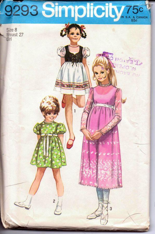 Simplicity 9293 Vintage 1970's Sewing Pattern Little Girls Dress Empire Waistline Bolero Jacket - VintageStitching - Vintage Sewing Patterns