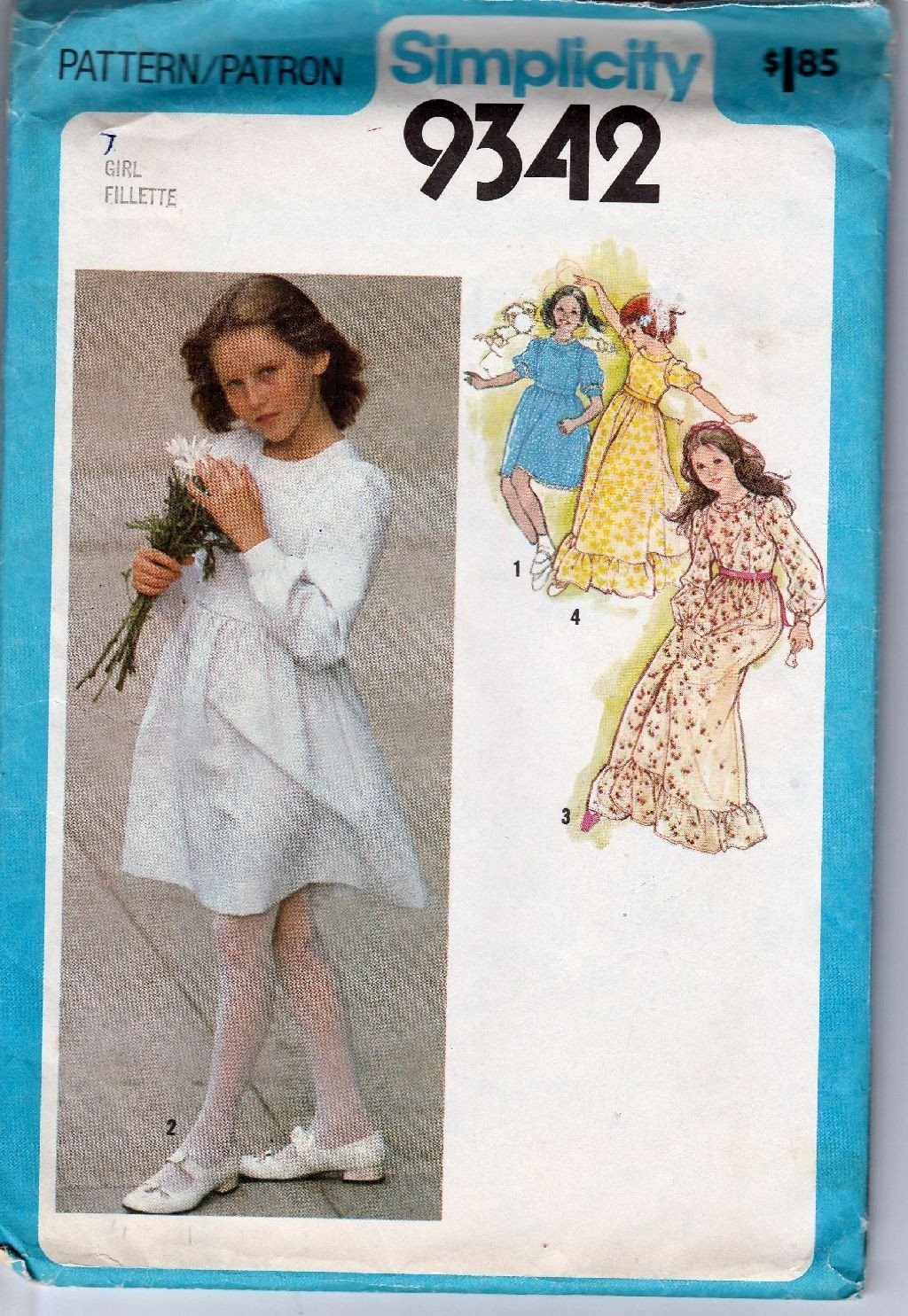 Simplicity 9342 Vintage 1970's Sewing Pattern Girls Flower Girl Dress Wedding Gown - VintageStitching - Vintage Sewing Patterns