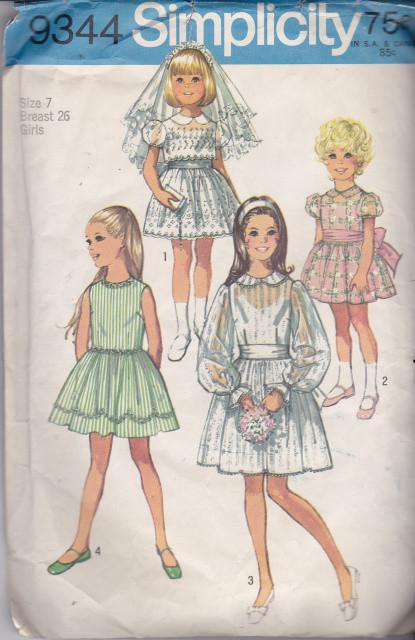 Simplicity 9344 Girls Communion Dress Vintage Sewing Pattern - VintageStitching - Vintage Sewing Patterns