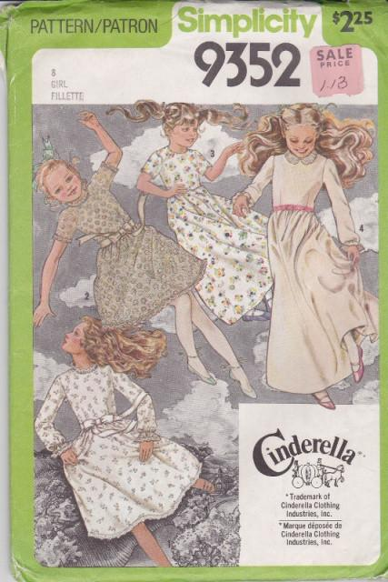 Simplicity 9352 Girls Dress Vintage Sewing Pattern 1970's - VintageStitching - Vintage Sewing Patterns