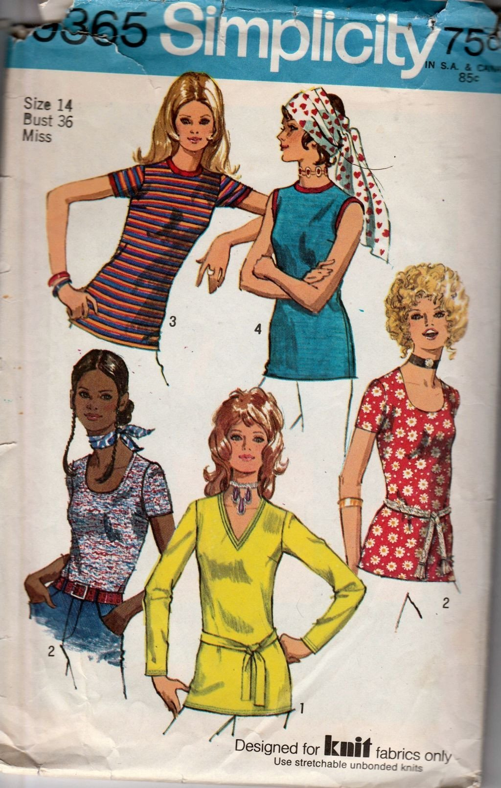 Simplicity 9365 Vintage 1970's Pattern Ladies Set of Blouses Back Zipper - VintageStitching - Vintage Sewing Patterns