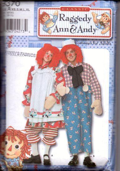 Simplicity 9370 Raggedy Ann Andy Costume Pattern Adult Size Uncut - VintageStitching - Vintage Sewing Patterns