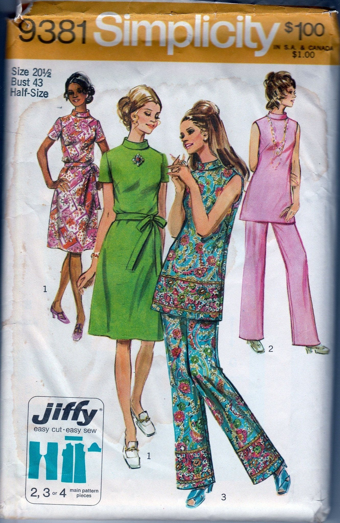 Simplicity 9381 Vintage 1970's Sewing Pattern Ladies High Neck Jiffy Dress Pants Half Sizes - VintageStitching - Vintage Sewing Patterns
