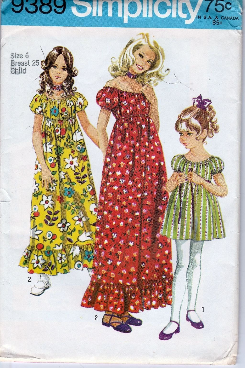 Simplicity 9389 Vintage 1970's Sewing Pattern Girls Dress Above Knee Gown - VintageStitching - Vintage Sewing Patterns