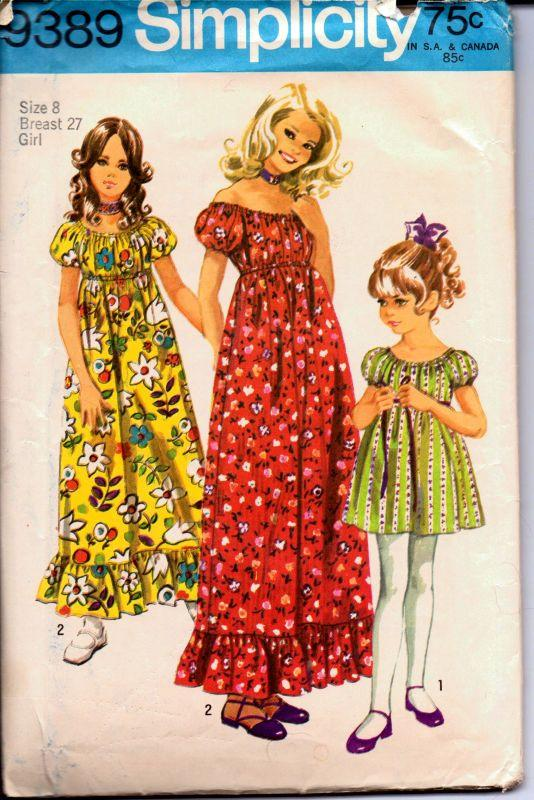 Simplicity 9389 Vintage 1970's Sewing Pattern Girls Off Shoulder Dress Long Mini Length - VintageStitching - Vintage Sewing Patterns