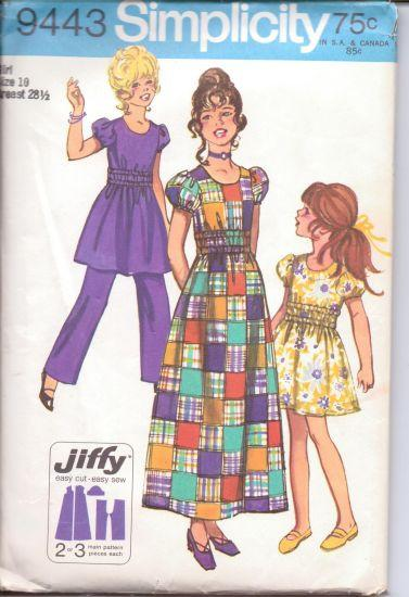 Simplicity 9443 Girls Jiffy Dress Pants Vintage Sewing Pattern 1970's - VintageStitching - Vintage Sewing Patterns