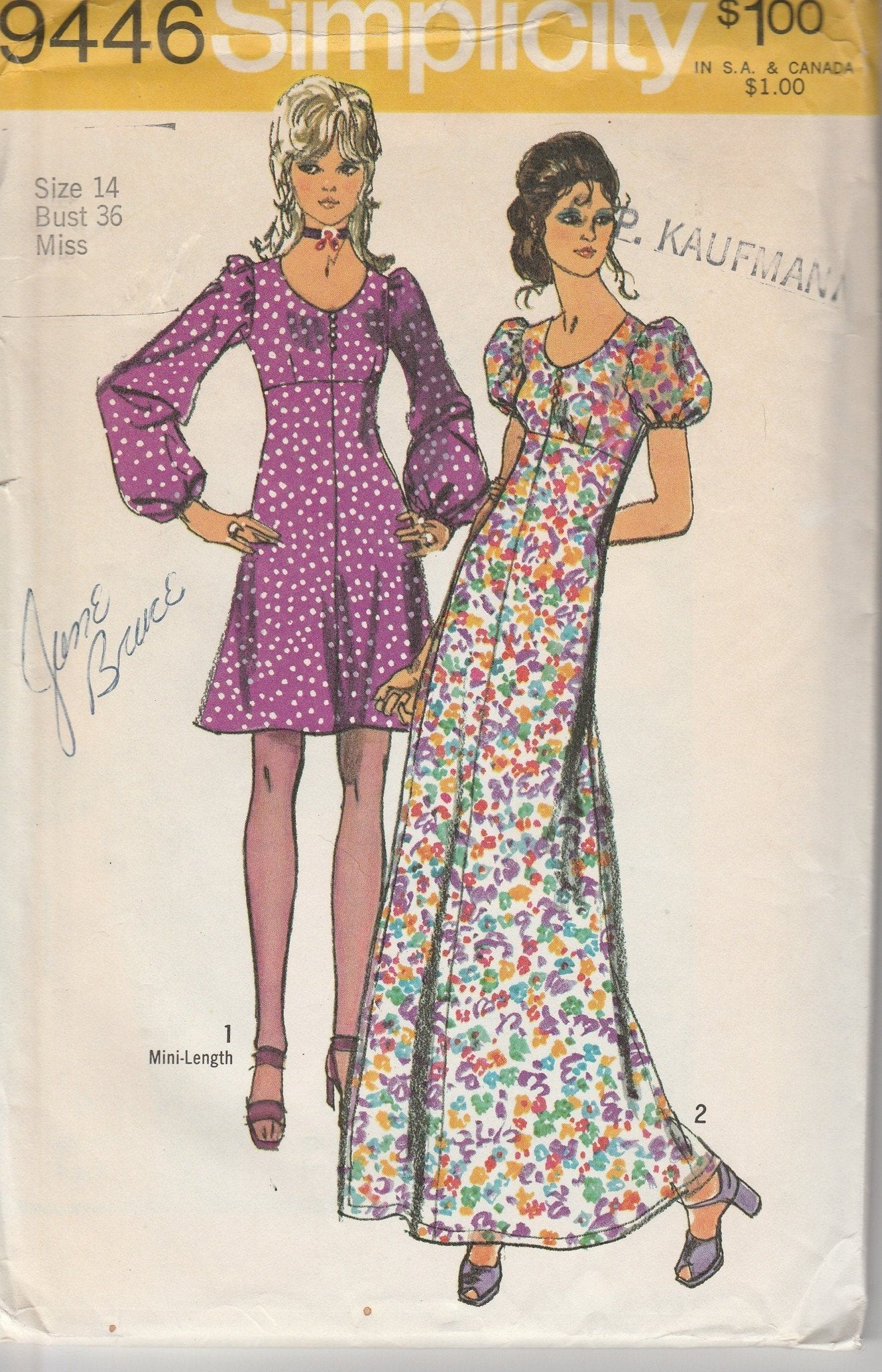 Simplicity 9446 Vintage 1970's Sewing Pattern Ladies Empire Waist Mini Dress Above Knee Long - VintageStitching - Vintage Sewing Patterns
