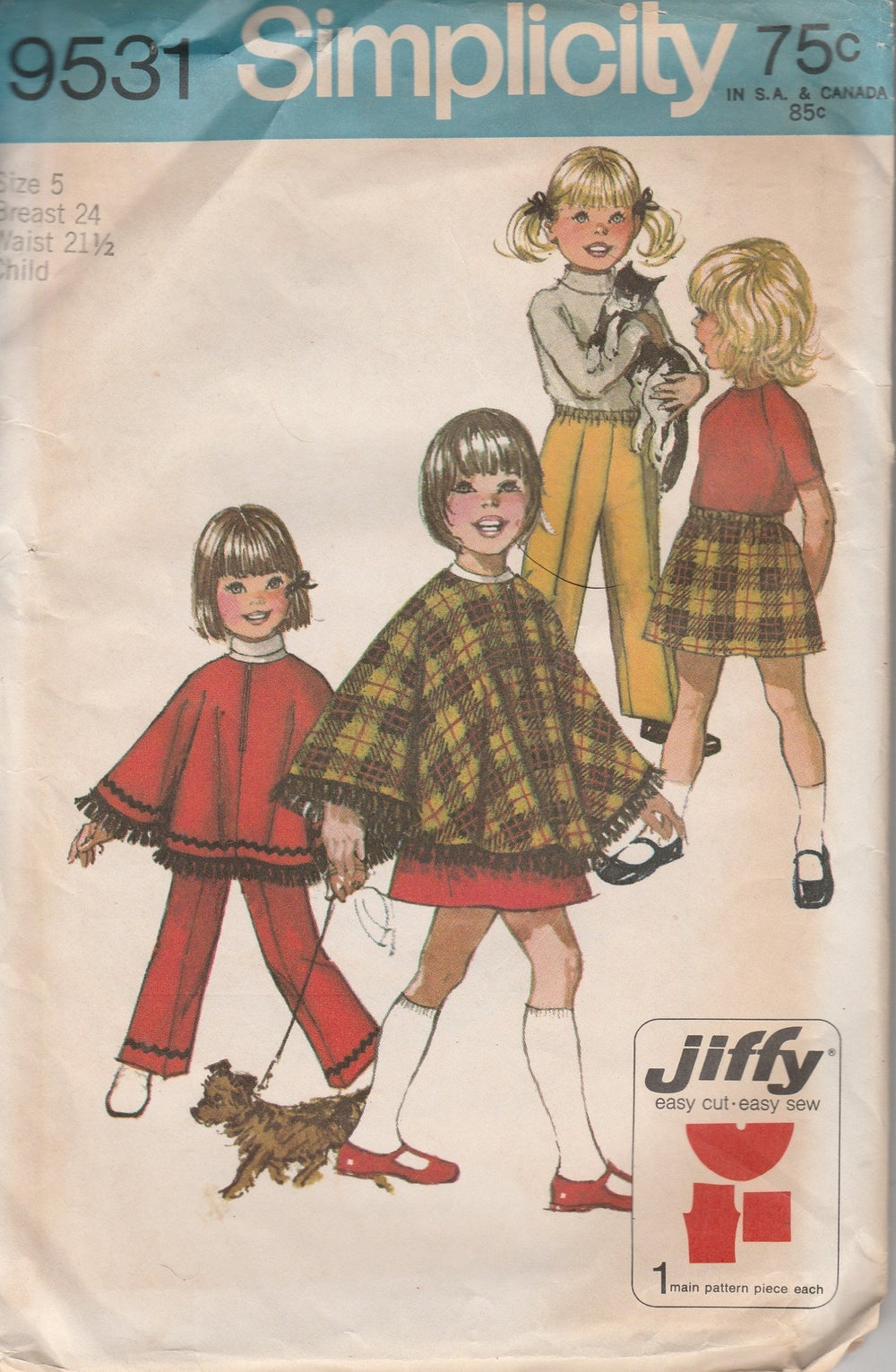 Simplicity 9531 Vintage 1960's Sewing Pattern Girls Fringe Trim Poncho Skirt Pants Jiffy - VintageStitching - Vintage Sewing Patterns