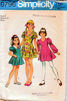 Simplicity 9796 Little Girls' Princess Dress Vintage 1970's Pattern - VintageStitching - Vintage Sewing Patterns