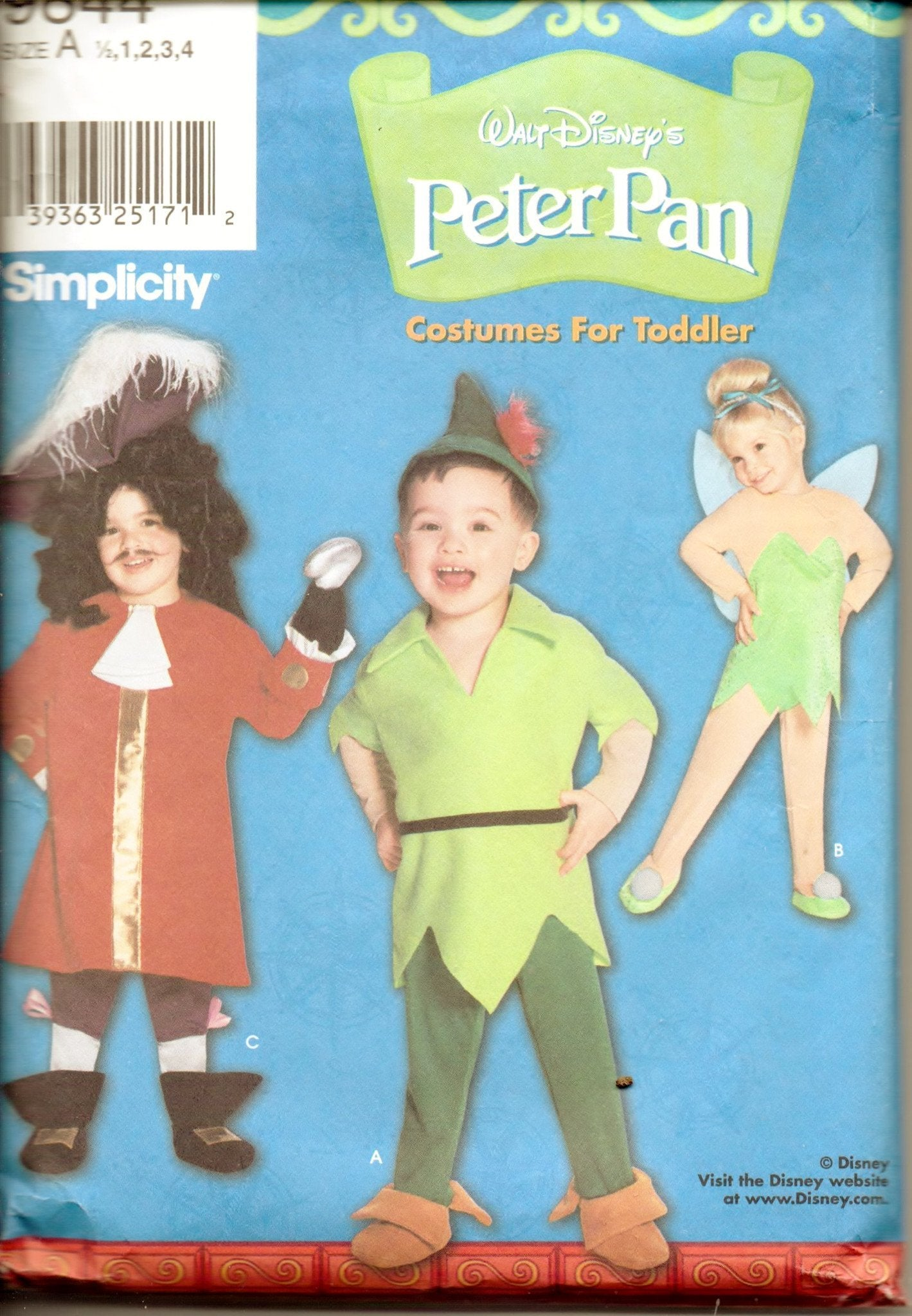 Simplicity 9844 Toddler Disney Peter Pan Captain Hook Tinkerbell Halloween Costume Sewing Pattern - VintageStitching - Vintage Sewing Patterns