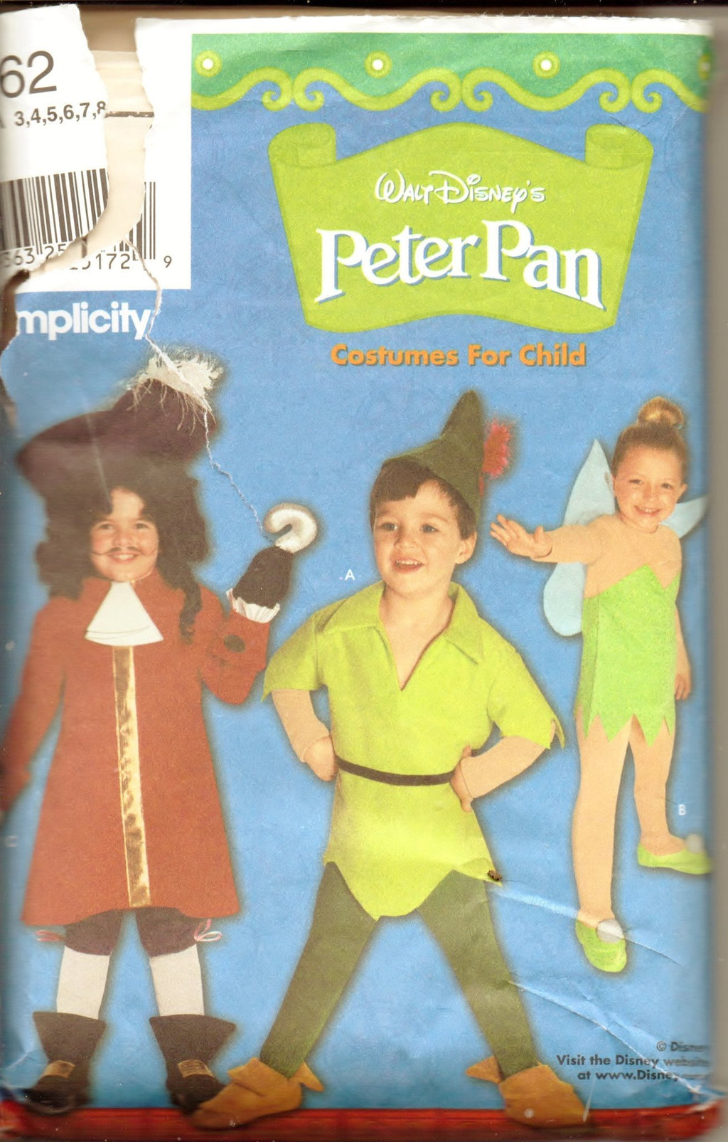 Simplicity 9862 Disney Peter Pan Captain Hook Tinkerbell Halloween Costume Pattern Children Boy Girl - VintageStitching - Vintage Sewing Patterns