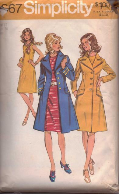 Simplicity 9867 Ladies Sleeveless Dress Long Coat Vintage Sewing Pattern - VintageStitching - Vintage Sewing Patterns