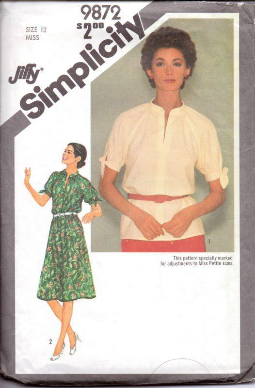 Simplicity 9872 Vintage 1980's Sewing Pattern Ladies Dress Pull Over Top Tied Raglan Sleeves - VintageStitching - Vintage Sewing Patterns