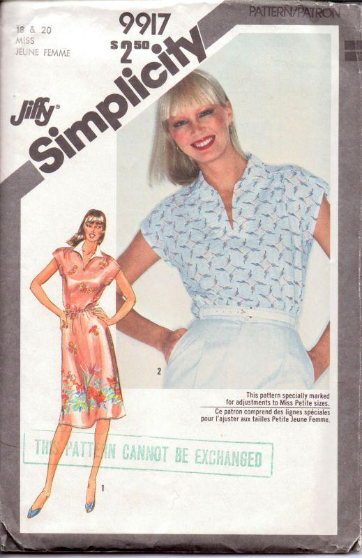 Simplicity 9917 Vintage 1980's Sewing Pattern Jiffy Pullover Dress Top Front Slash Opening - VintageStitching - Vintage Sewing Patterns
