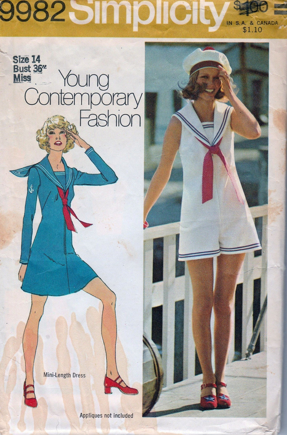 Simplicity 9982 Vintage 1970's Sewing Pattern Ladies Mini Sailor Dress Pantdress Romper - VintageStitching - Vintage Sewing Patterns