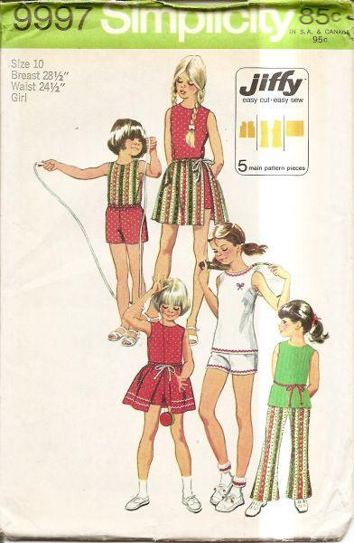 Simplicity 9997 Vintage 70's Sewing Pattern Girls Bell Bottom Pants Top Skirt - VintageStitching - Vintage Sewing Patterns