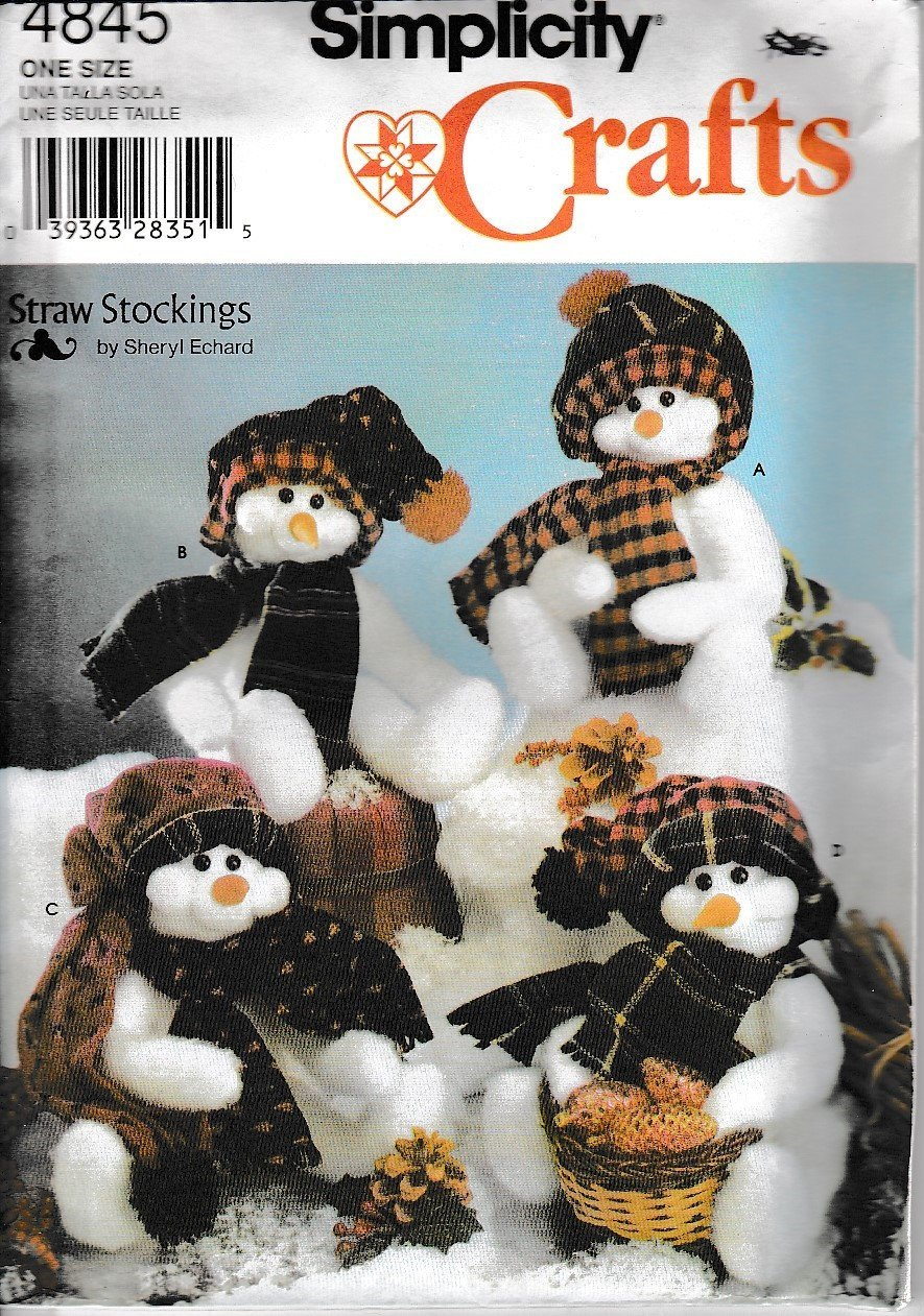 Simplicity Crafts 4845 Snowman Sewing Pattern Christmas Straw Stockings - VintageStitching - Vintage Sewing Patterns