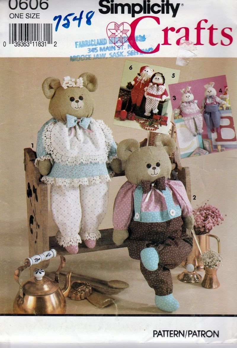 Simplicity Crafts 7548 0606 Bear Bunny Rabbit Dolls With Clothing Sewing Pattern - VintageStitching - Vintage Sewing Patterns