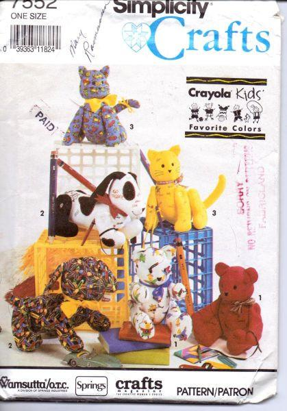 Simplicity Crafts 7552 Crayola Autograph Hound Cat Bear Sewing Pattern - VintageStitching - Vintage Sewing Patterns