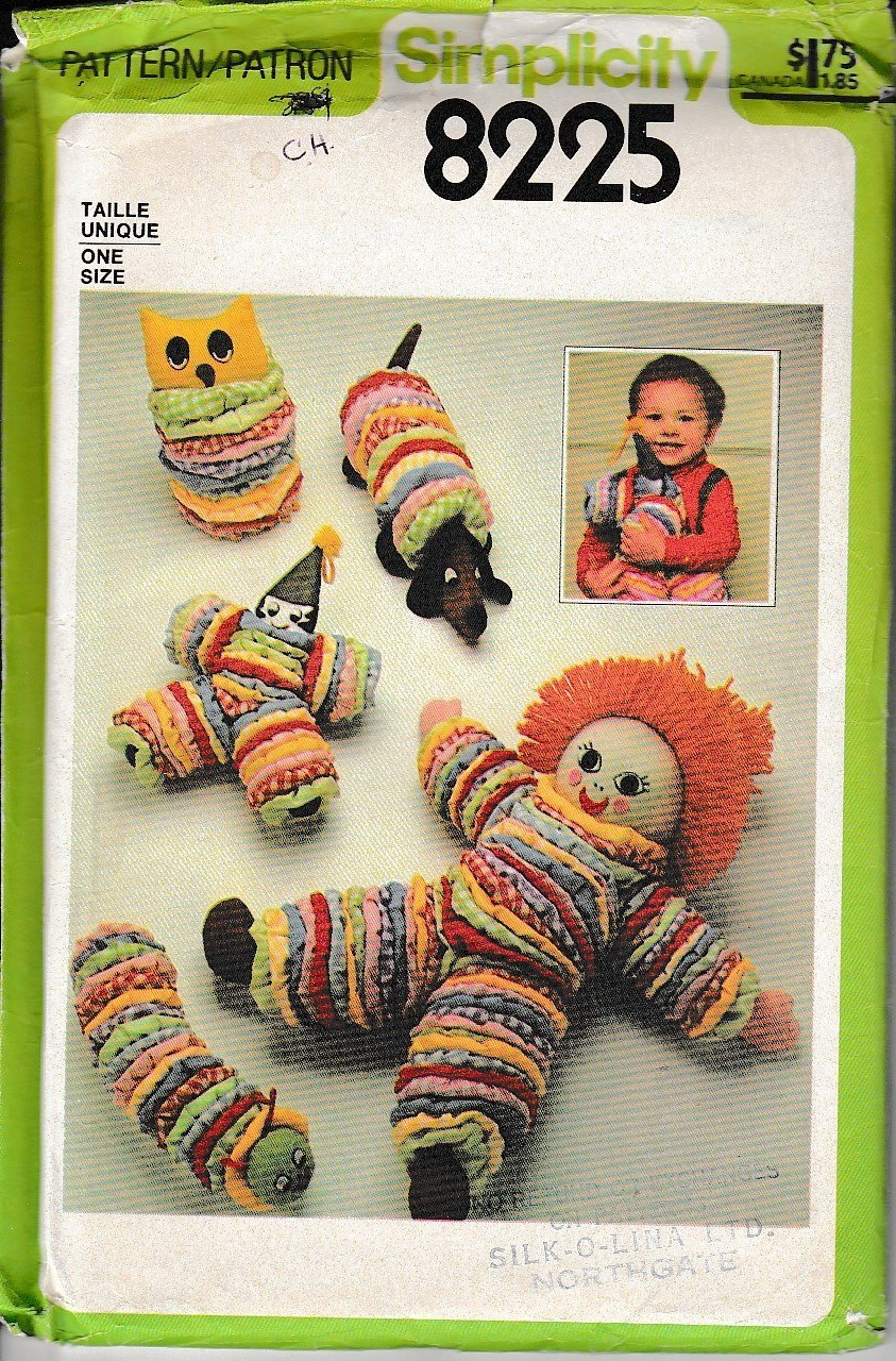 Simplicity Crafts 8225 Toys Doll Animals Clown Vintage Sewing Pattern - VintageStitching - Vintage Sewing Patterns