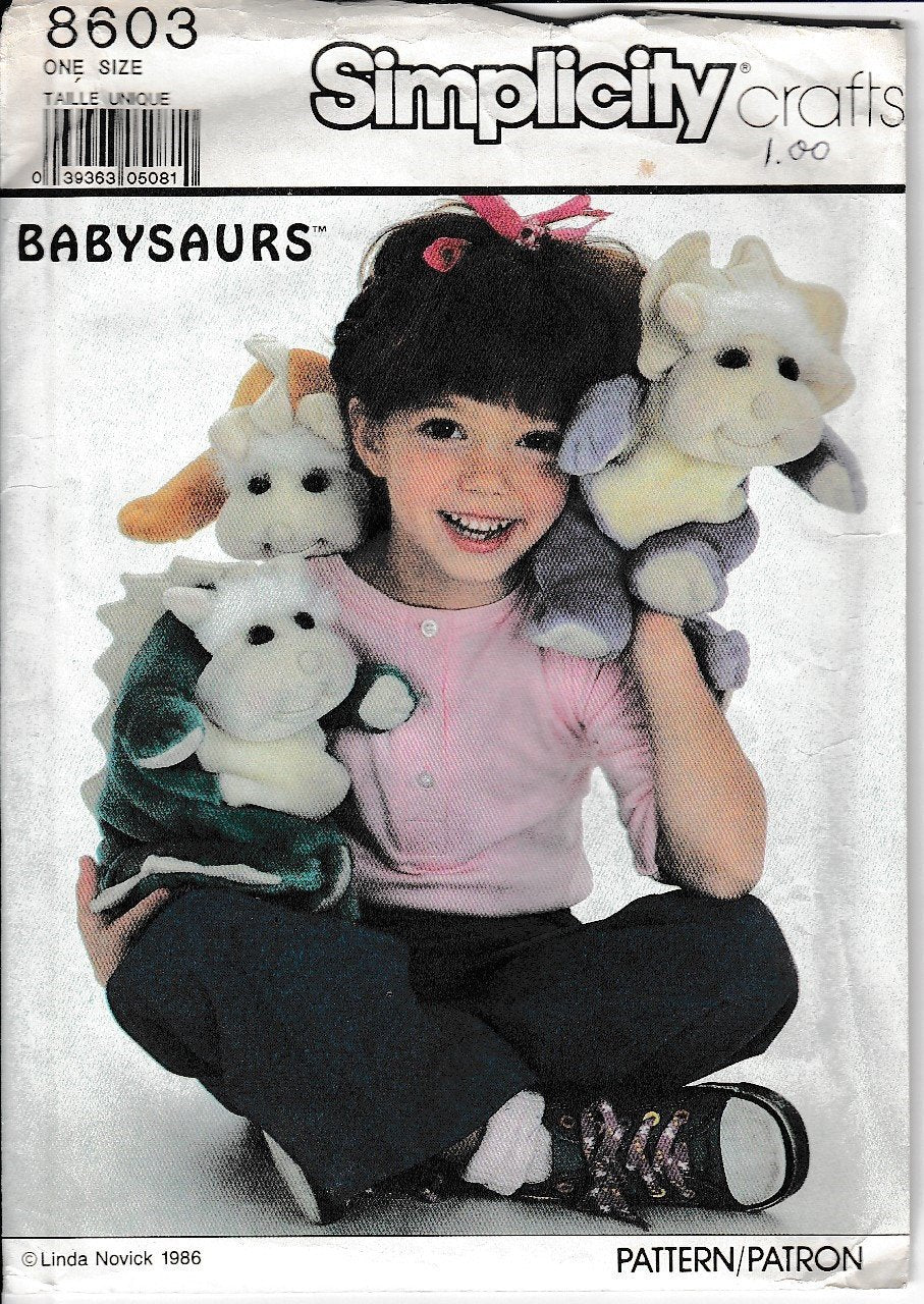 Simplicity Crafts 8603 Babysaurs Dinosaur Stuffed Vintage Sewing Pattern - VintageStitching - Vintage Sewing Patterns