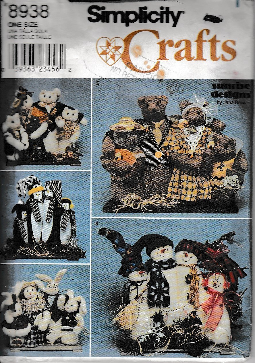 Simplicity Crafts 8938 Bear Cat Snowman Penguin Bunny Rabbit Sewing Pattern Christmas - VintageStitching - Vintage Sewing Patterns