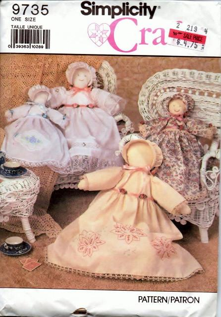 Simplicity Crafts 9735 Heirloom Doll and Clothes Vintage Sewing Pattern - VintageStitching - Vintage Sewing Patterns