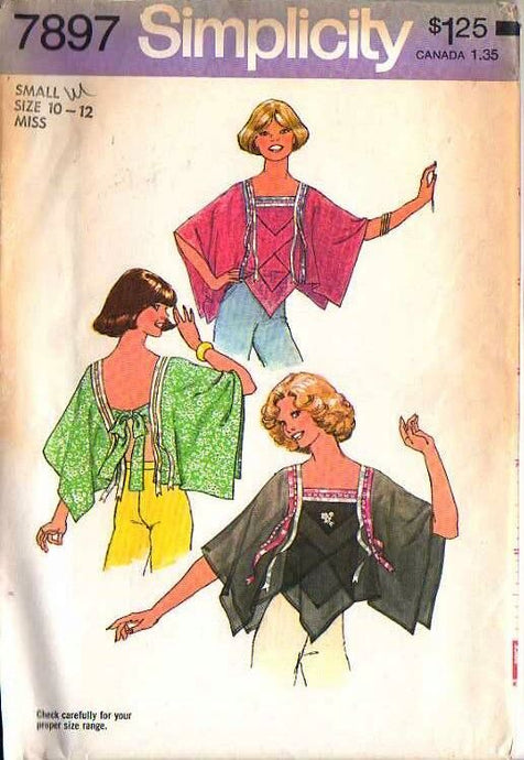 Simplicity  7897 Tops vintage sewing pattern 1970s