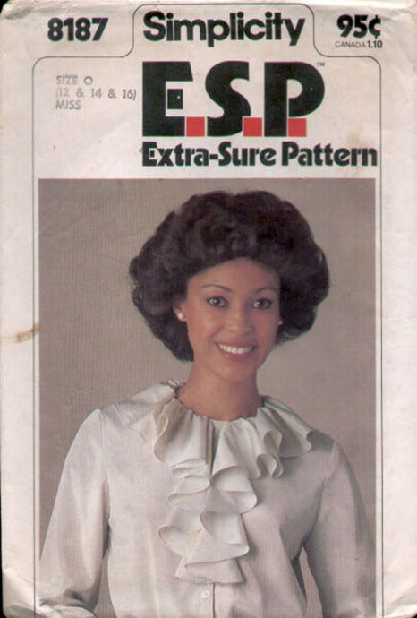 simplicity 8187 ruffled blouse vintage pattern 1970s