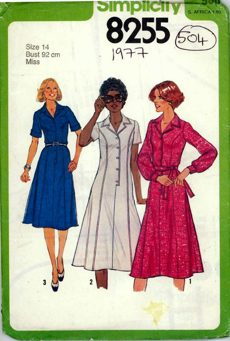 simplicity 8255 shirtwaist dress vintage pattern