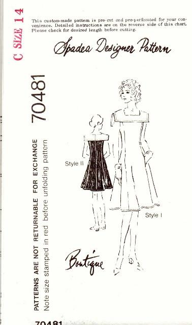 Spadea 70481 Ladies Dress Square Collar Vintage 1970's Sewing Pattern - VintageStitching - Vintage Sewing Patterns