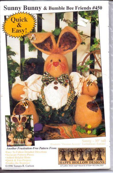 Stuffed Sunny Bunny Bumble Bee Friends Sewing Craft Pattern 1990's - VintageStitching - Vintage Sewing Patterns