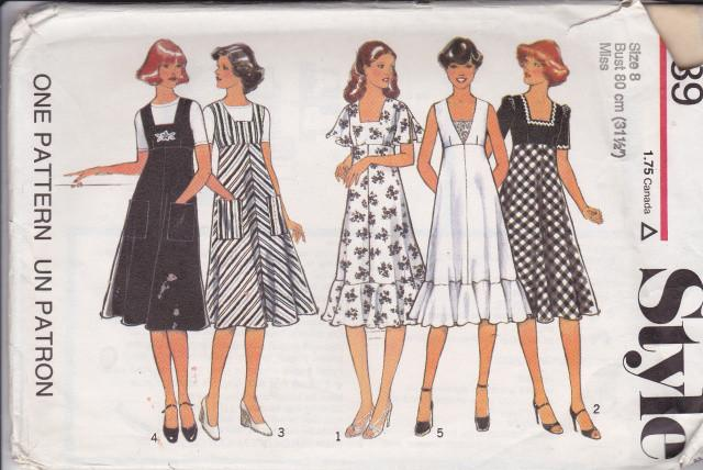 Style 1939 Ladies Flared Dress Pinafore Vintage 1970's Sewing Pattern - VintageStitching - Vintage Sewing Patterns