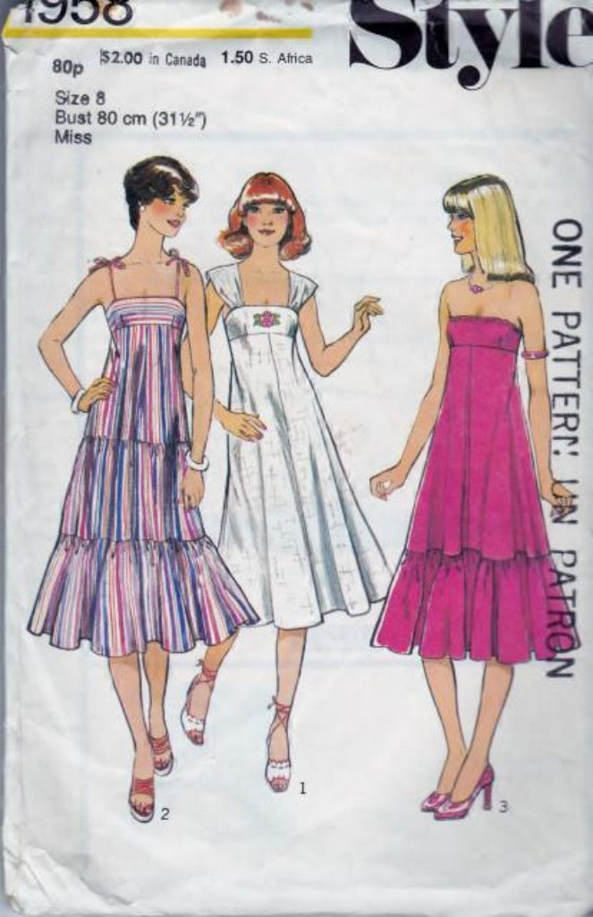Style 1958 Ladies Flared Dress with Frill Vintage Sewing Pattern - VintageStitching - Vintage Sewing Patterns