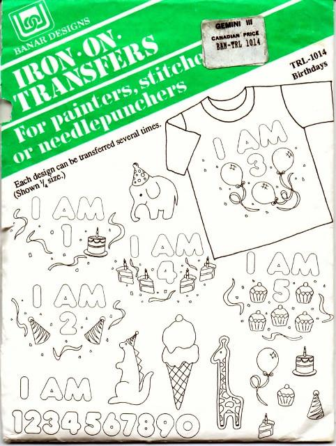 Vintage Iron-On Transfer Pattern Banar Designs Birthdays TLR-1014 - VintageStitching - Vintage Sewing Patterns