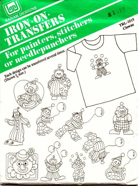 Vintage Iron-On Transfer Pattern Banar Designs Clowns TRL-1015 - VintageStitching - Vintage Sewing Patterns