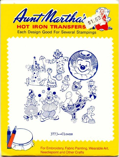 Vintage Transfer Pattern Aunt Martha's Clowns 3773 - VintageStitching - Vintage Sewing Patterns